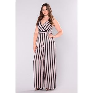 Drifting Over Me Pink Striped Jumpsuit